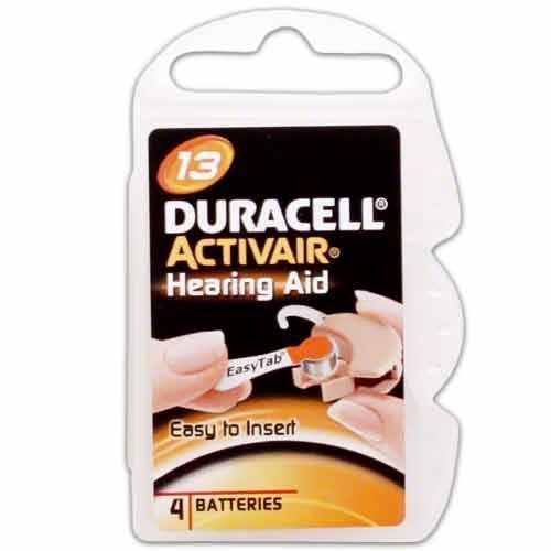 Duracell Activair Easy Tab Size 13 (40 batteries) by Duracell. $14.35. DURACELL is a global marketer of hearing aid batteries. When you need reliable, long lasting power for your hearing aid, use a DURACELL hearing aid battery. Introducing DURACELL Hearing Aid Batteries with EASYTAB -- The world's first easy to use hearing aid batteries. New EASYTAB makes changing your hearing aid batteries as easy as 1-2-3. Easy to open package, Easy to remove the batteries & Easy t...