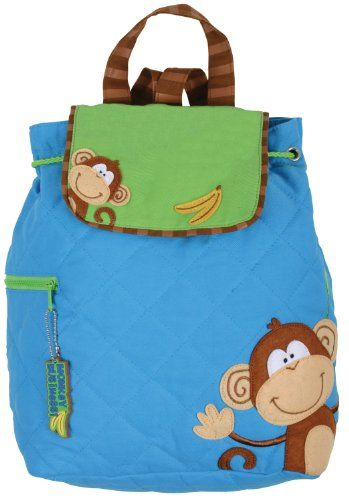 """Stephen Joseph Boy Monkey Backpack SJ-1001-99B •Fully Lined Backpack with Magnetic Snap Closure •100% Cotton •Machine Washable •Fun Coordinating Zipper Pull •Perfect for Monogramming •Approx. 13"""" by 13.5""""  FREE PERSONALIZATION WITH EVERY ORDER!!!"""