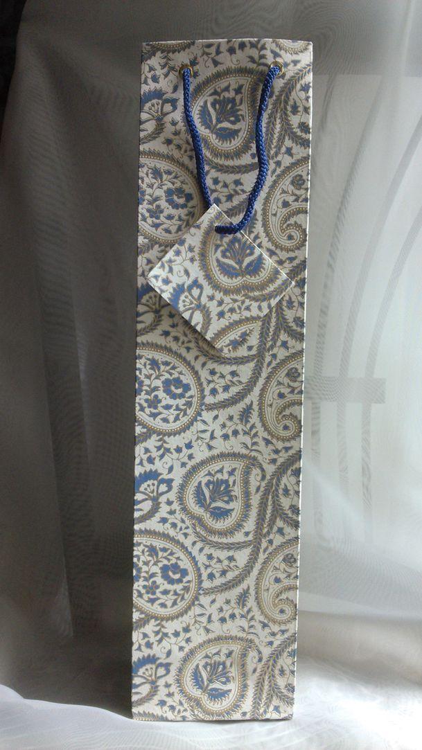 Cream Royal Blue Wine Bag  (14)