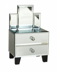 Sil Mirror And Drawers Vanity Table Mirrored Jewellery Box A mirrored vanity table shaped jewellery box. Approximately 16 x 12 x 23cm in size.