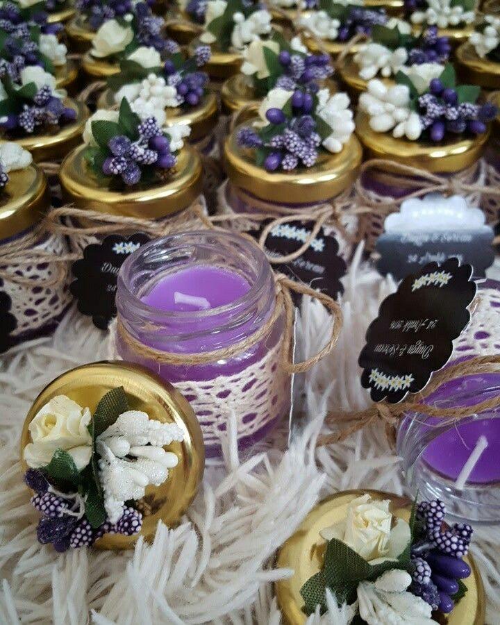 Nişan hediyelikleri  Mum nişan hediyelikleri  Candles Burlap