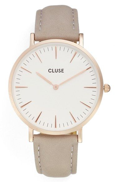 Free shipping and returns on CLUSE 'La Bohème' Leather Strap Watch, 38mm at Nordstrom.com. Slim, pointed indices circle a numberless dial, lending a chic minimalist look to this elegant, ultra-thin watch set on a luxe leather strap with quick-release pins that make short work of a style swap-out.