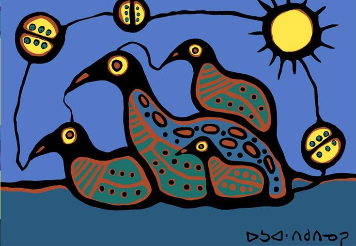 """Woodland Art """"Loon Family"""" *Norval Morriseau*"""