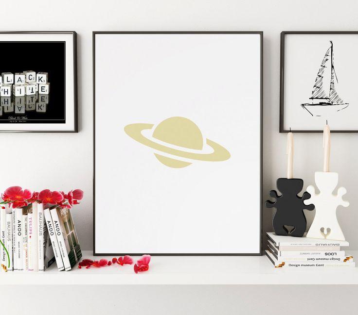 Gold Saturn Print, Planet Print, Gold Saturn Wall Art, Saturn Wall Print, Saturn Art, Astronomy Wall Prints, Planet Printable