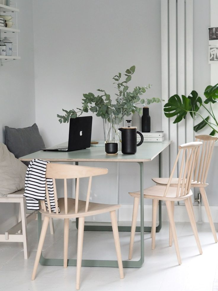Green dining space - Muuto 70/70 table, HAY chairs, Farrow & Ball Blackened. From Head to Home: 5 tips for planning a redecoration project, with IKEA