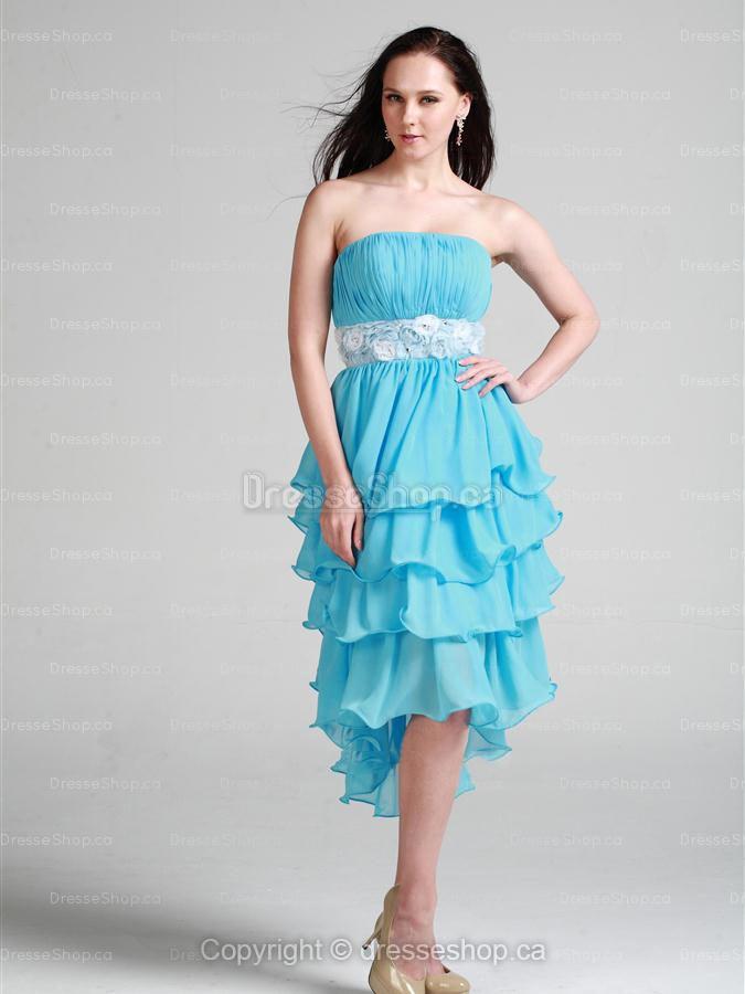 blue flowers homecoming dress