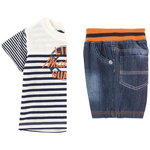 Jersey en coton et élasthanne Denim en coton 2 pièces T-shirt : Col rond Manches…