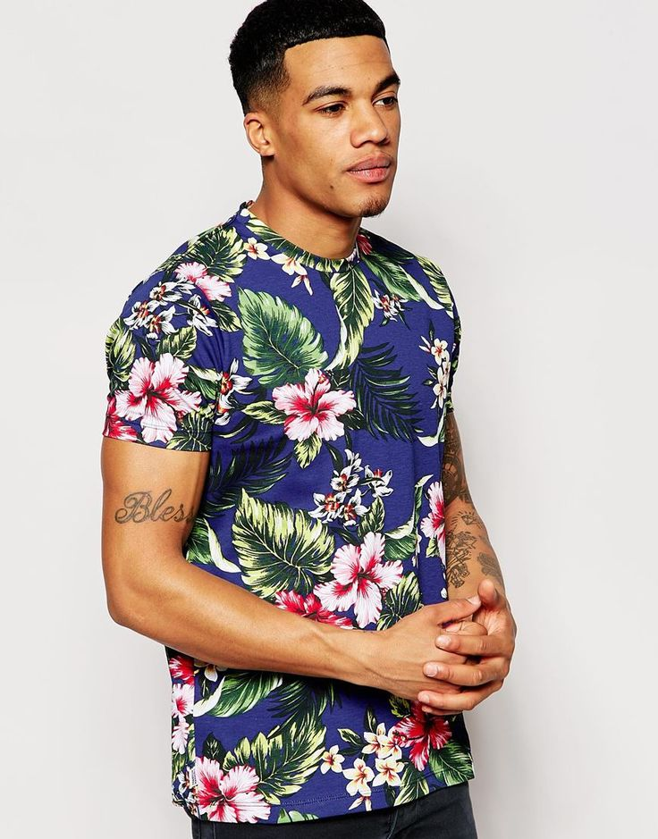 Franklin & Marshall T-Shirt with All Over Hawaiian Floral Print