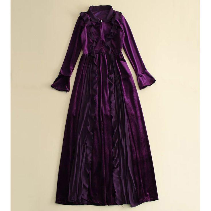 Фиолетовый/черный flouncing рябить питер пэн воротник открытой передней a line с длинным рукавом бархатное платье женщина платье вечернее элегантный горячая продажкупить в магазине Runway Life StoreнаAliExpress