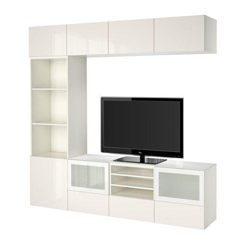 BESTÅ Combinazione TV/ante a vetro - guida cassetto/chiusura silenziosa, bianco/Selsviken lucido/vetro smerigliato bianco - IKEA