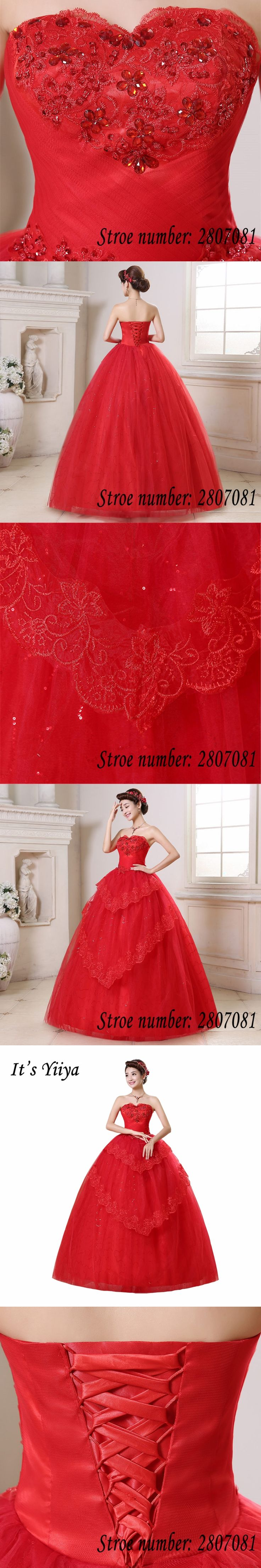 Free Shipping Vestidos De Novia Real Photo Red Sequins Crystal Strapless Wedding Dresses Cheap Princess Bride Frocks HS168