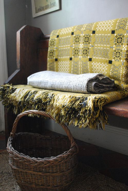 J283: Vintage Welsh Blanket: Mustard & Black