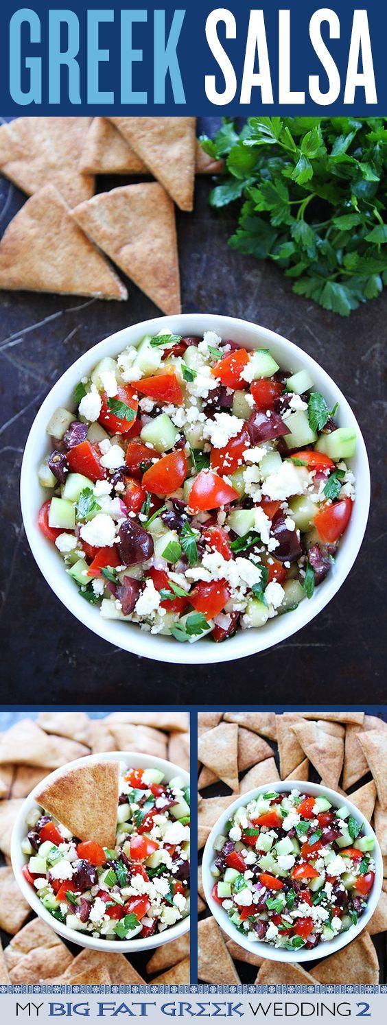 Greek Salsa Recipe on twopeasandtheirpod.com The perfect recipe to celebrate My Big Fat Greek Wedding 2 movie! #MyBigFatGreekWedding2 #ad