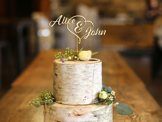 Gold Laser Cut Cake Topper - #ad -- First Names Wood Cake Topper - Wedding Cake Topper