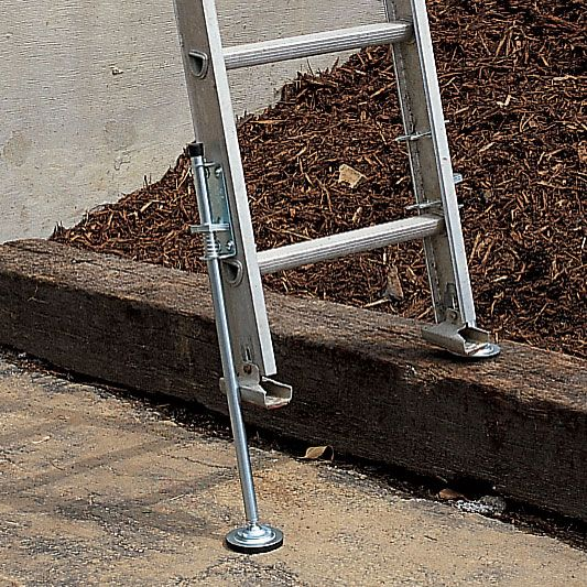 "Ideal for Use on Steps  To compensate for uneven ground or stairs, these Ladder Levelers permanently attach to ladder legs and extend up to 15"" to provide up to 8 1/2"" of lift, which is more than enough to be used on most steps. Support over 1000 lbs. High traction 3 1/2"" dia. neoprene feet swivel in all directions. Optional cleated feet are offered for soft outdoor surfaces. Surpass OSHA Industrial Code Requirements and meet UL specs. Constructed of heavy-gauge steel with..."