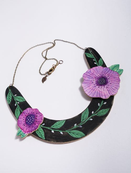artjewelry , contemporary jewelry , illustration , handpainted , collar necklace , bib necklace , flowers