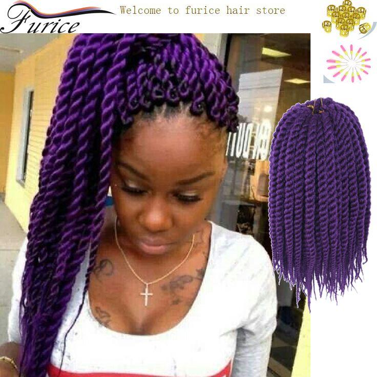 "20"" Purple Braiding Hair Havana Mambo Twist Crochet Braid Hair Crochet Braids Senegalese Twist Kinky Curly Synthetic Braid Hair"