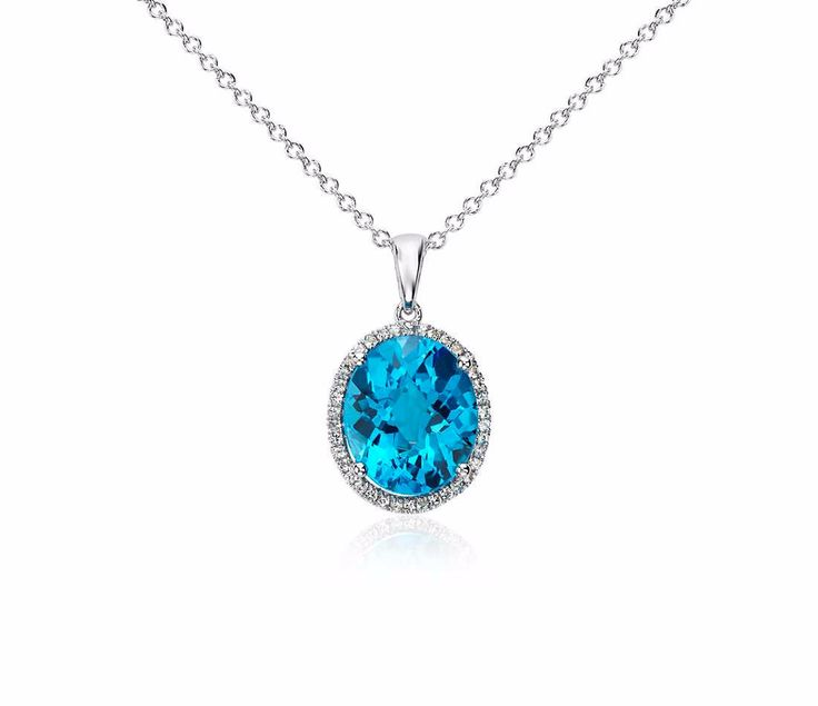 Swiss Blue Topaz with Diamonds Pendant in White Gold