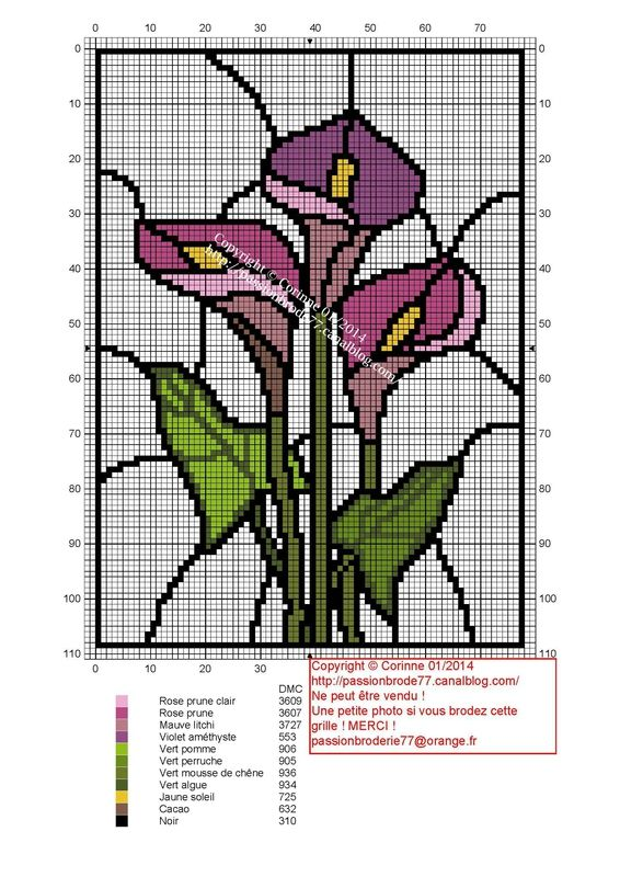 fleur - flower - vitrail - Point de croix - cross stitch - Blog : http://broderiemimie44.canalblog.com/