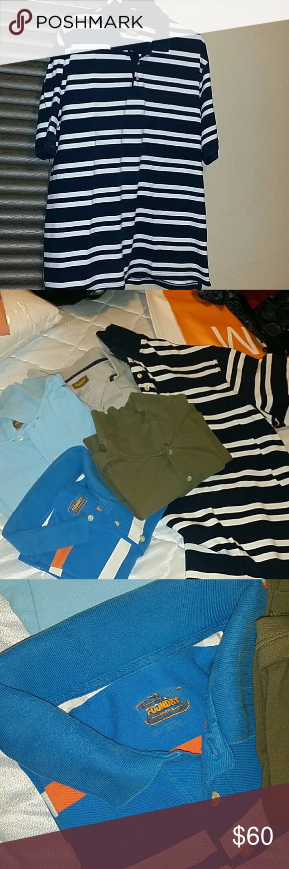 Men's short sleeve Polo shirts 1 light blue, 1 green, 1 gray, 2 multicolored stripped. All good condition. Great business casual shirts. Foundry Shirts Polos