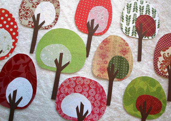 Fabric trees great for applique! No pattern but easy enough to do.