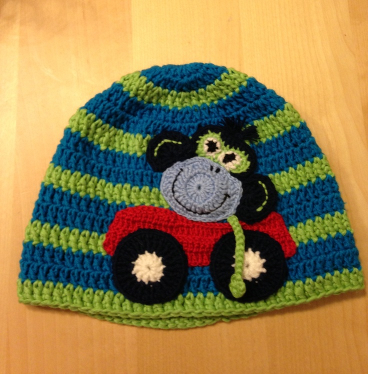 The Monkey driving his car Hat for my boy