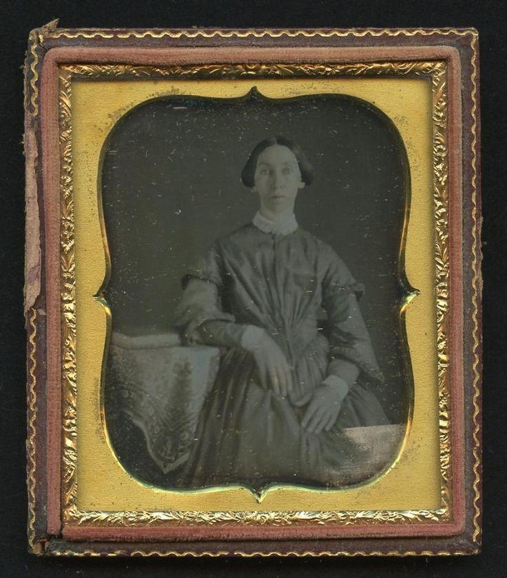 1850 Half Case 6th Plate Dag Thin Woman with Arm on Table and Book | eBay