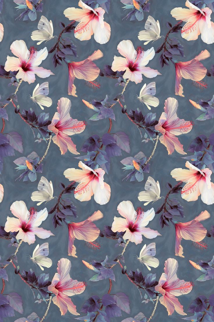 Silver bling background free bling vector art 412 free downloads - Butterflies And Hibiscus Flowers A Painted Pattern Fabric By Micklyn On Spoonflower Custom Fabric