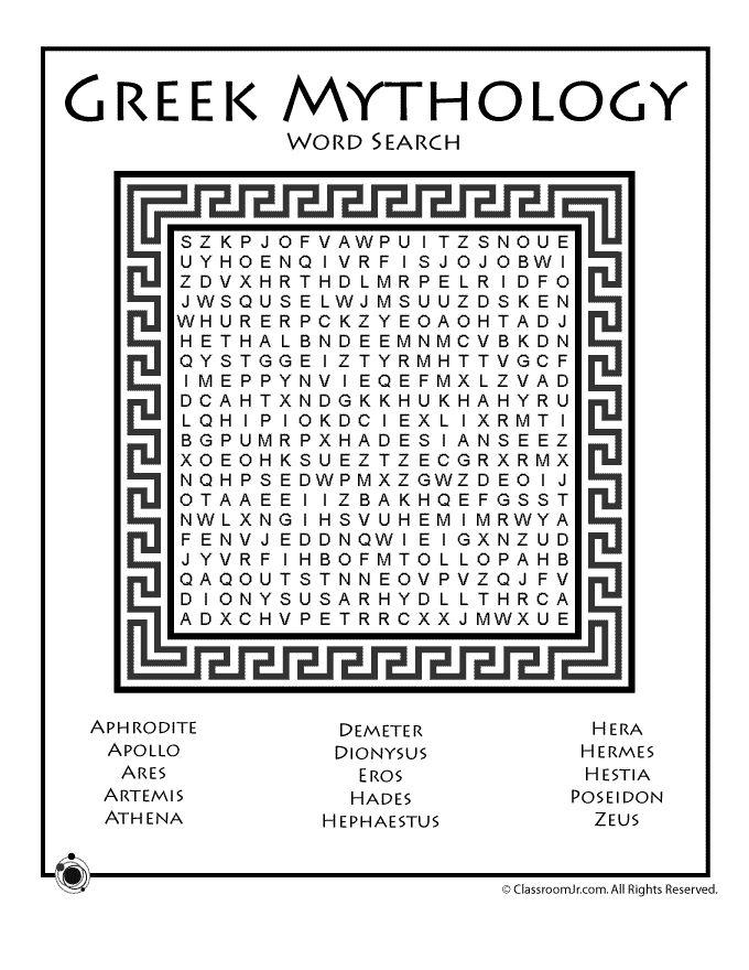 Greek Mythology Worksheets Greek Mythology Word Search – Classroom Jr.