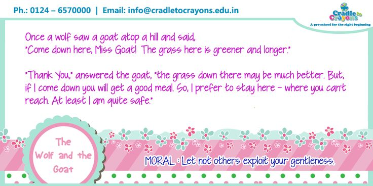 """The famous short #story of """"The Wolf And The Goat"""" with a fabulous moral at the end. #kids #learning  #Gurgaon #kids #children #child #parents #toddler #kindergarten http://cradletocrayons.edu.in/"""