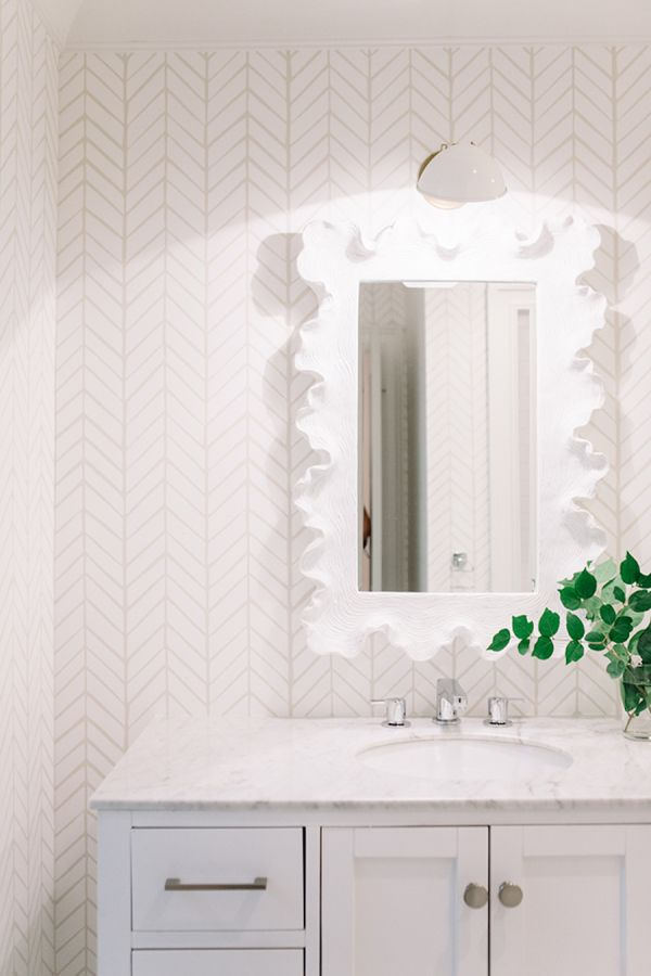 White bathroom with a bit of texture: http://www.stylemepretty.com/living/2015/08/28/nashville-home-tour/ | Photography: Leslee Mitchell - http://lesleemitchell.com/