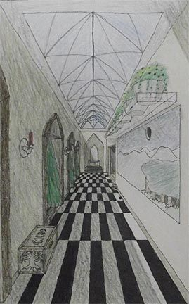one point perspective...draw a hallway to anywhere! Gets a student's brain started! Do this at the beginning of class! Also if your an art teacher you should really do this!