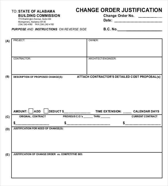 11 Change Order Templates Forms Word Excel Fomats Templates