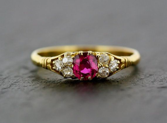 Antique Ruby Ring  Victorian 18ct Gold Ruby and by AlistirWoodTait,
