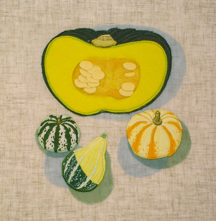 """marrow squash""  needlework illustration Ⓒ Nagako Ono HAPPa_Ya #embroidery #vegetables"