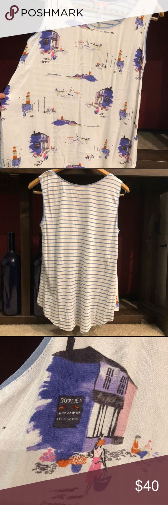 Joules Iris Jersey Woven Mix Top - Norfolk Beach Say hello to the warmer weather with the stylish Joules Iris Jersey Woven Mix Top in Norfolk Beach - an old favorite in a new print.  Woven front 100% Viscose Machine wash, do not tumble dry  *BRAND NEW, NEVER WORN, WITH THE TAGS & IN PERFECT CONDITION* 💖🙂 Joules Tops Tank Tops