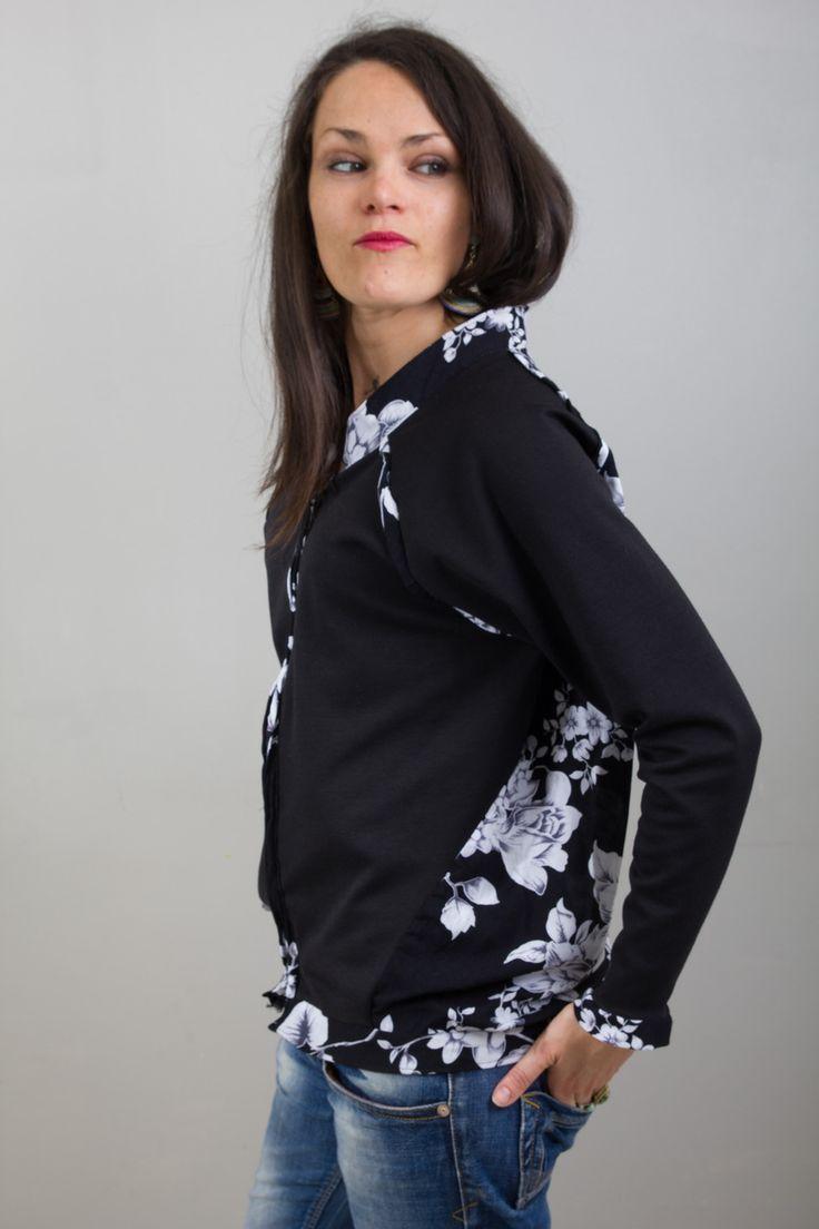 blazer court et zippé, blouson, veste pour femme, motifs fleurs, bohème et romantique, coupe légèrement streetwear : Pulls, gilets par all-by-k