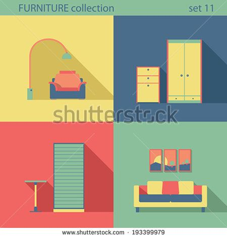#vector #furniture in flat long shadow style