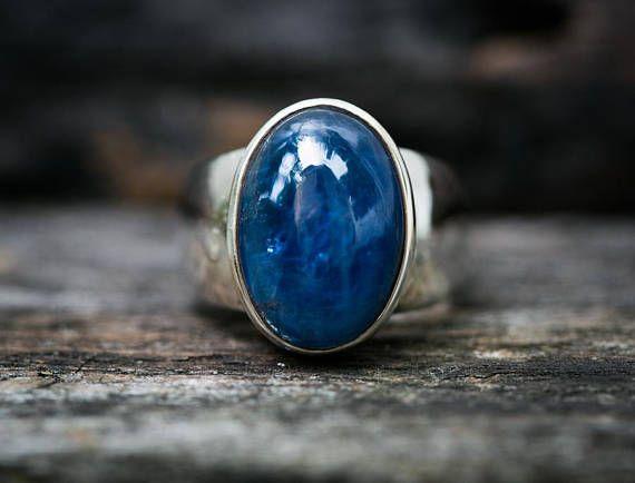 Kyanite Ring Size 8  Kyanite Cabochon Ring  Kyanite Sterling