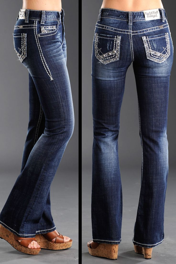 Rock and Roll Cowgirl Women's Silver Stud Pyramid Nail Head Jeans