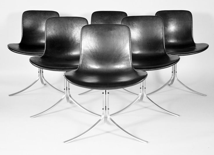 Poul Kjærholm #PK9  Poul Kjærholm (1929-1980). PK-9. A set of six chairs with steel frame. Shall formed seat and back upholstered in elegant black leather. Manufactured in 1996 at Fritz Hansen. #PoulKjærholm