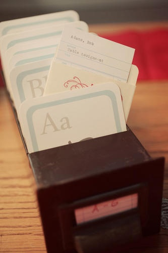 library cards and drawers for table assignments