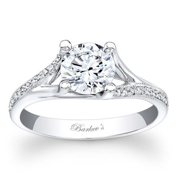 Barkev's 14K White Gold Split Shank Diamond Engagement Ring Featuring 0.12 Carats Round Cut Diamonds. Style 7849L