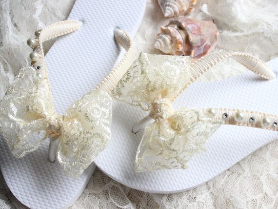 Bridal flip flops - Planning a beach wedding? These starfish flip flops are an adorable idea! I used Ivory satin ribbon to wrap the straps