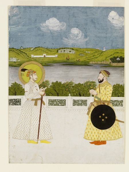 Emperor Muhammad Shah and a minister on a terrace beside a river.