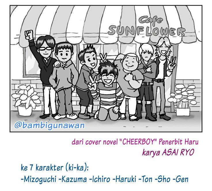 Walaupun konsep komiknya gak jadi, tapi akhirnya sketsa 7 karakter (mizoguchi kazuma ichiro haruki ton sho gen) muncul dalam halaman novel #cheerboy he he he  #comic #manga #cover_novel #illustration #digitalart #asai_ryo #penerbitharu #karyamasbambi #masbe #BambiBambangGunawan