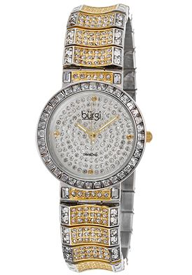 Special Offers 92% Off Burgi Women's Diam Two-Tone Base Metal Pave Crys Dial Silver-Tone Base Metal Watch