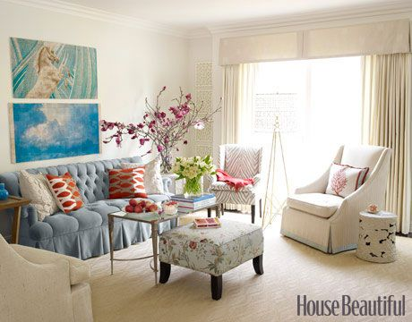 Hollywood Regency Style from House Beautiful...    Designer Melissa Warner's rental living room is formal without being too stiff. She energized the soft color palette using a variety of patterns like an animal print, a floral, a geometric print, and an appliqué.      Return to Gallery