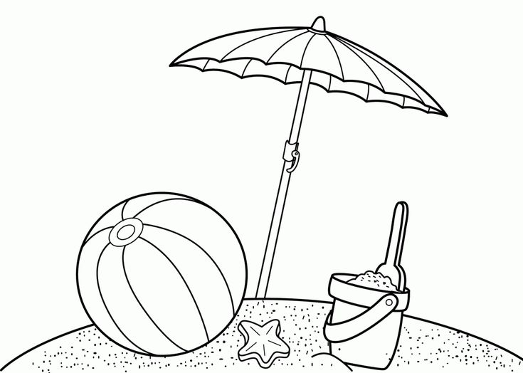 Summer Coloring Sheet Of The Beach