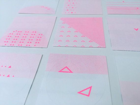 Hot Pink Stickers  Risograph Printed  Small by ForgetCake on Etsy